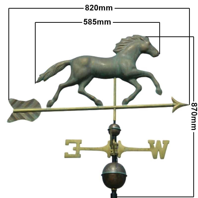 Copper running horse weathervane (Large) measurements