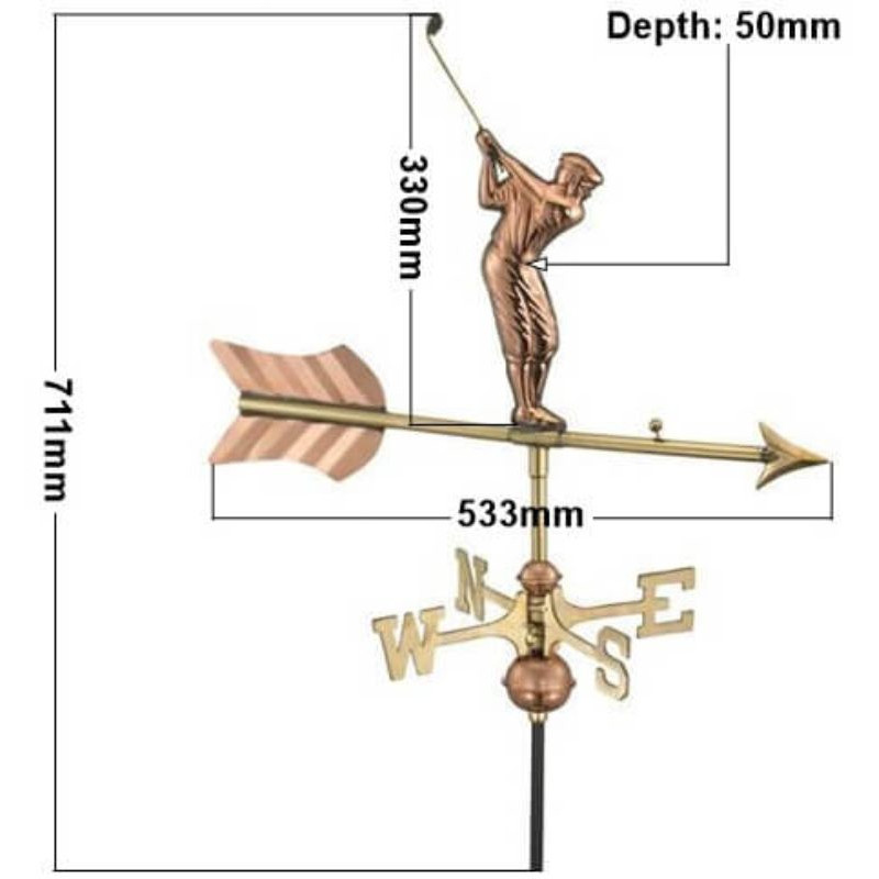 Copper golfer weathervane measurements