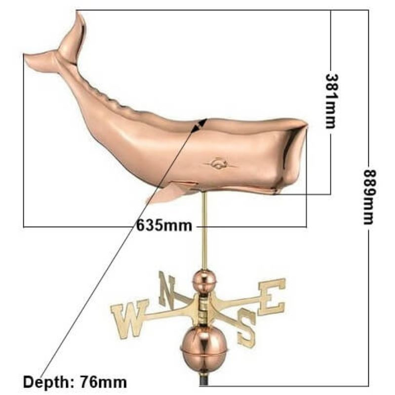 Copper whale weathervane (Large) measurements