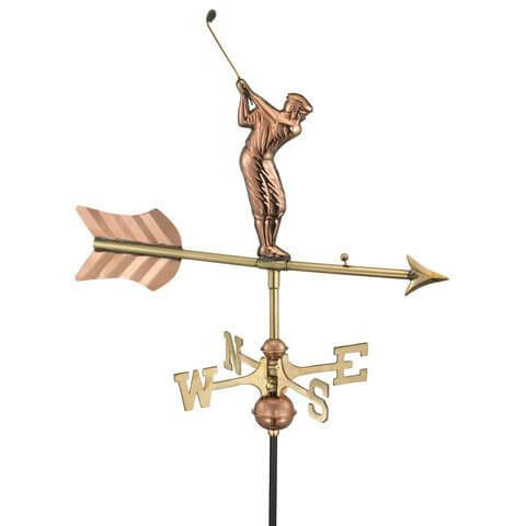 Copper golfer weathervane
