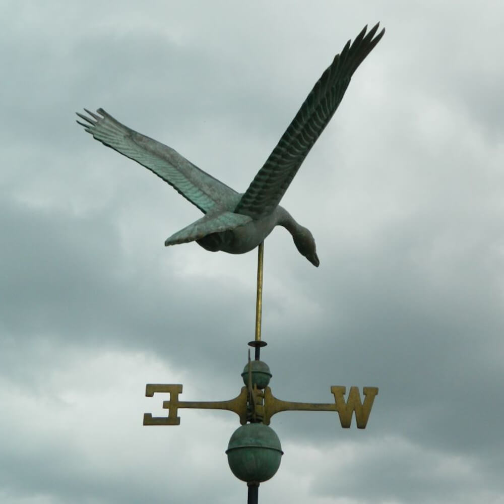 aged copper goose weathervane