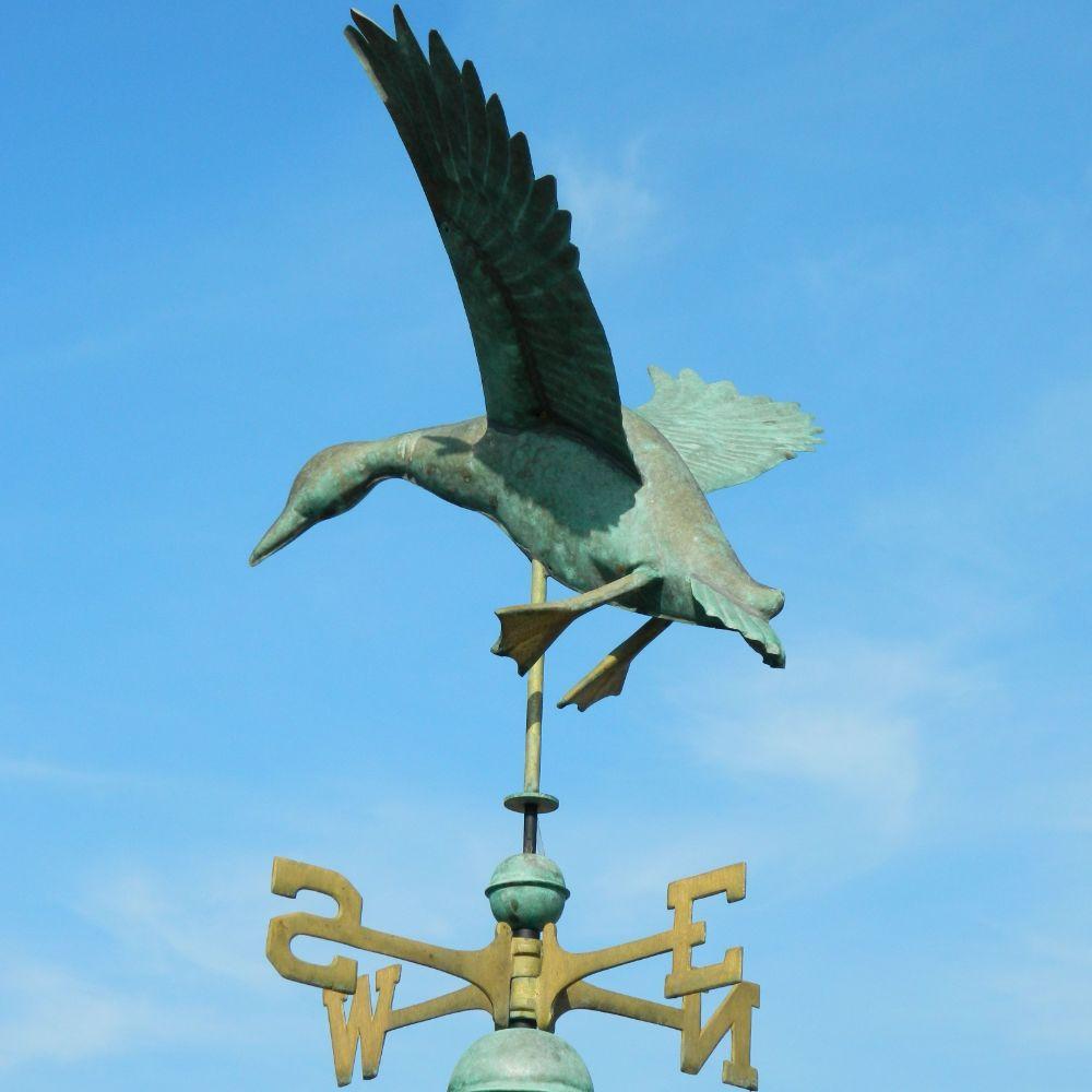Bird Weathervanes Large Pure Copper Landing Duck Weathervane Vintage Aged Verdigris