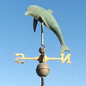 Bottlenose dolphin large copper weathervane