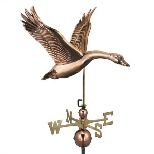 Copper flying goose weathervane