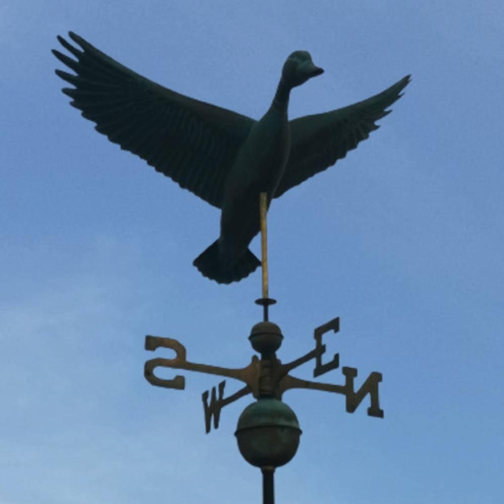 Animal Weathervanes Large Copper Weathered Flying Duck Weathervane